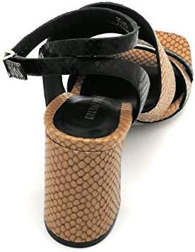 Bruno Premi Bz3103 Sandalo Stampa Cocco Cuoio-t. Moro Cinturino Cav. T.8cm W - Taglia Scarpa 39 Eu Colore Cuoio-testa