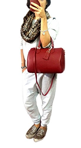 rouge Deep cuir femme in ch Rose main Italy Bandoulière Made Avec Sac Bauletto Épaule véritable à qwgAZWrqR