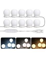 طقم مصابيح LED للمرايا مع 10 مصابيح قابلة للتعديل من ديكديل فانيتي مع 10 مصابيح إضاءة قابلة للتعديل 10 درجات إضاءة و 3 أوضاع إضاءة مع مرآة يو إس بي لطاولة المكياج