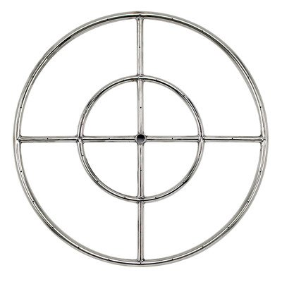 American Fireglass Stainless Steel Fire Pit Burner Ring, 24-Inch