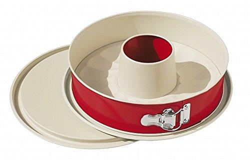 ALPFA Non-Stick Coating Bakeware Springform Cake Tin, Ceramic, Red/Crème, 26 cm, 3-Piece 751226