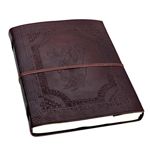 - The Family Tree - XXL Leather Journal Guest Note Sketch Book Cotton paper Handmade in India