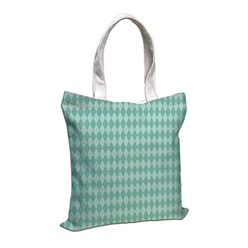 iPrint Cotton Linen Tote Bag, Aqua,Layers of Ocean Blue Inspired Rectangular Geometrical Tile Seem Image Decorative,Turquoise and Light Blue,for Shopping Camping School Casual Pocket