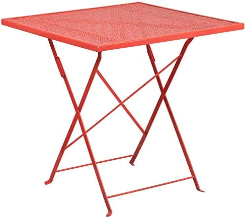 Flash Furniture Commercial Grade 28″ Square Coral Indoor-Outdoor Steel Folding Patio Table