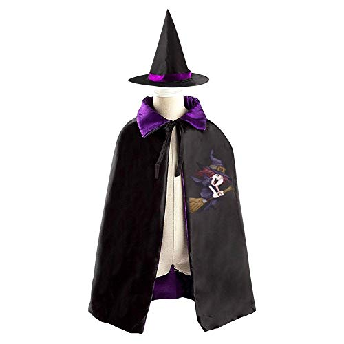 69PF-1 Halloween Cape Matching Witch Hat Cute Witch Broom Wizard Cloak Masquerade Cosplay Custume Robe Kids/Boy/Girl Gift Purple