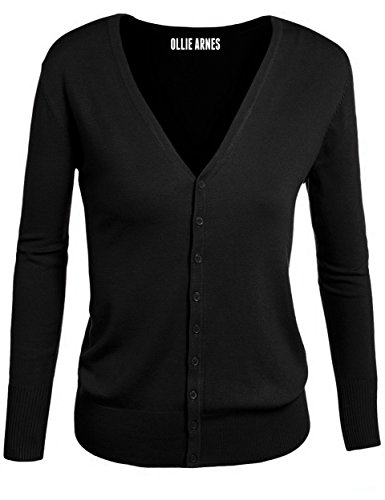 Button Up V-neck Cardigan (Ollie Arnes Womens Basic Chic Long Sleeve Solid Button Up V-neck Knit Cardigan 24_BLACK M)