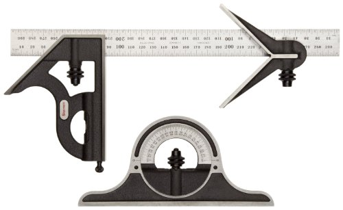 Starrett 9M-300 Cast Iron Square, Center And Non-Reversible Protractor Heads With Regular Blade Combination Set, Black Wrinkle Finish, 300mm Size (300 Mm Blade)