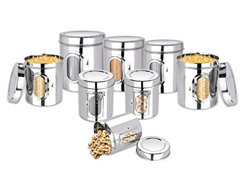 EBun-Stainless-Steel-Set-of-8-Canisters-Containers-Ubha-Dabba-with-lid-for-Kitchen-Storage-3005006508501200140019502500-GMS-See-Through-Design