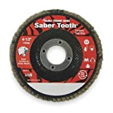 Weiler Saber Tooth Abrasive Flap Disc, Type 29, Threaded Hole, Phenolic Backing, Ceramic Aluminum Oxide, 4-1/2'' Dia, 80 Grit (Pack of 1)