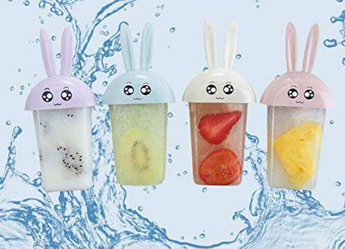 Labu Store 4 pcs Creative DIY Ice Sucker Mold Summer Cartoon Rabbit Shape Ice Sucker Mold Frozen Icecream Maker