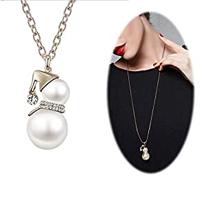Snowman Pearl Pendant Necklace Women Crystal Cute Santa Long Chain jewerly Silver