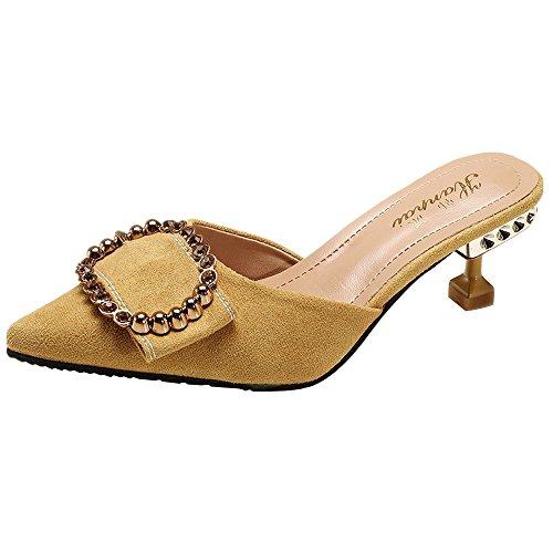 Chaussures de loisirs hauts jaunes talons chaussures femme à Beikoard fwqfPH