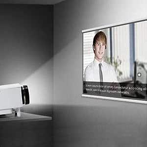 جهاز عرض وسائط متعددة صغير بوضوح فائق دقة 1080P، سينما منزلية ومسرح ايه في،مع بطاقة رسوم في جي ايه واتش دي ام آي ويو اس بي واس دي