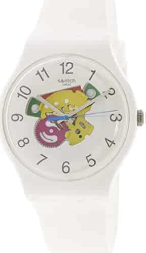 Swatch Originals Candinette White Dial Silicone Strap Unisex Watch SUOW148