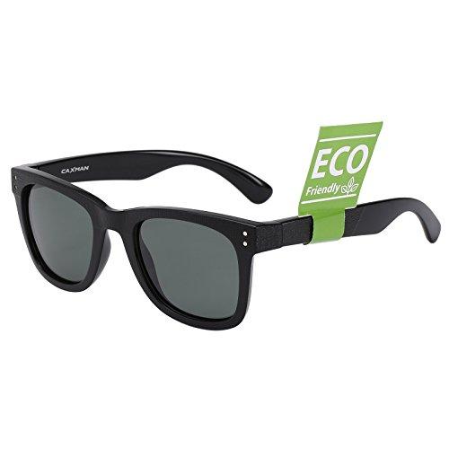 CAXMAN Unisex's Polarized Classic Wayfarer Sunglasses TR90 Unbreakable Frame for Men Women, Black Frame Green Lens, - Sunglasses Blenders