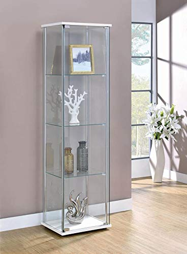 Coaster Curio Cabinet in White and Chrome by Coaster Home Furnishings