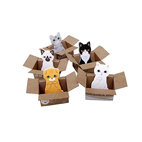 TUANTUAN 5 Pcs MINI Cute Cat Sticky Note Novelty Cartoon Animal Memo Pad Lovely Kitty Self-Stick Note Bookmark Page Flags Index Tab Reminder Sticky Notes Kitty Notepad