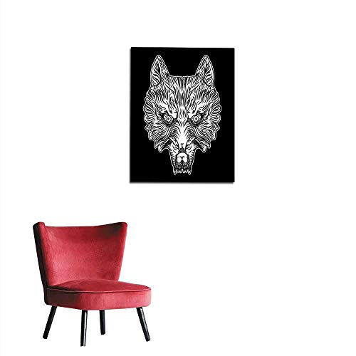 Mural Decoration Head of The Wolf in Blackwork Adult Tattoo Flash line Style and Poster Print t-Shirt Concept Design Vector Mural 24