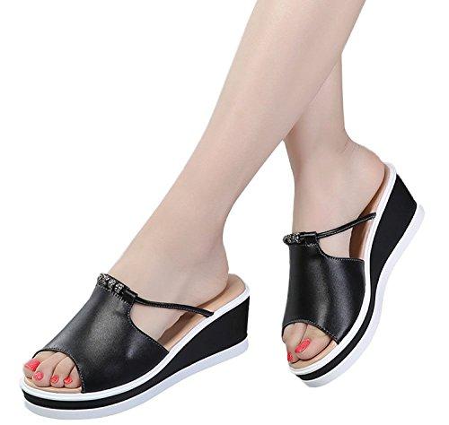 Verano Plataforma Moda Ancho Casual Elegante Pescado Zapatos Tacón Negro Playa Cuña Sandalias Minetom Cabeza Zapatillas Mujer Chancletas FXSwq5