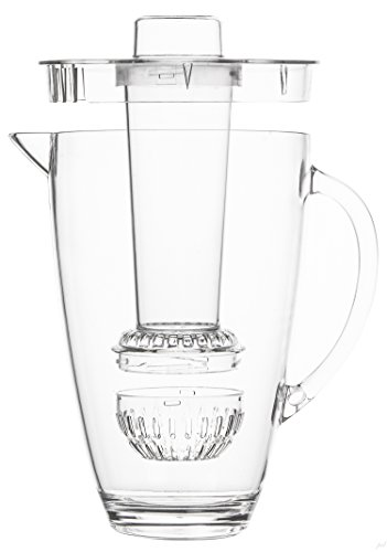 Jumbl Tea Infuser Water Pitcher. Plastic Pitchers with spill proof Lid & Removable Infusion Insert For Kool Aid, Juice, Iced Tea, Lemon Water, Crystal Clear Shatterproof Acrylic, 2 Quart (Frozen Water Pitcher compare prices)