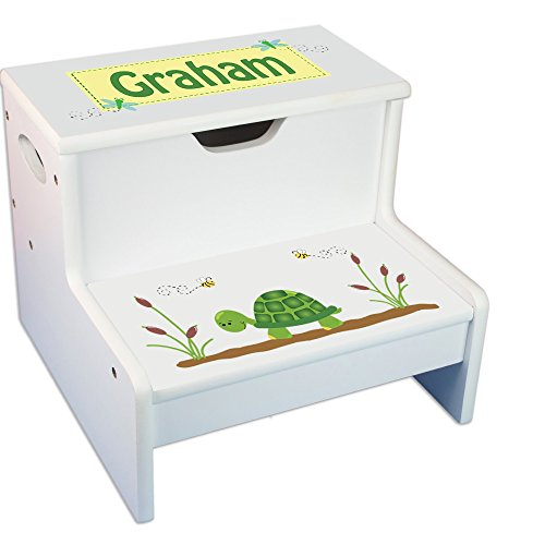 Personalized Turtle White Childrens Step Stool with Storage