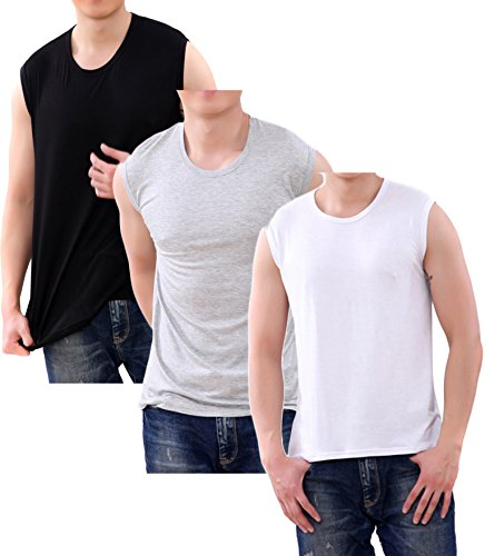 WUAMBO Men's 3 Pack Athletic shirt Muscle Tank Top Top US 3X-Large (Chest:46