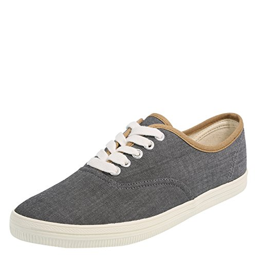 (city sneaks Grey Chambray Women's Classic Bal Sneaker 7 Regular)