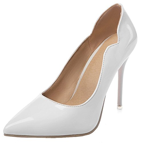 Summerwhisper Women's Dressy Asymmetric Pointed Toe Low Cut Stiletto High Heels Slip on Pumps Shoes White 4 B(M) US ()