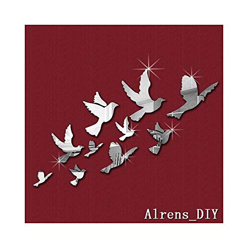Alrens_DIY(TM) 10pcs Flying Birds Mirror Surface Crystal Wall Stickers DIY Acrylic 3D Home Decal Living Room Murals Wall Paper Decor adesivo de Parede ()