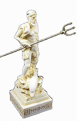 Estia Creations Poseidon Sculpture Statue Ancient Greek God of The sea Neptune Aged