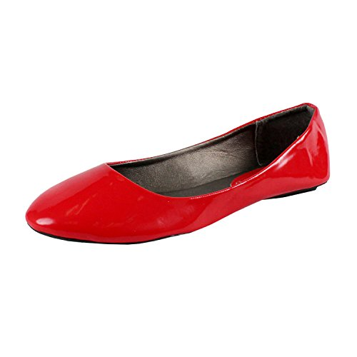 West Blvd Womens BALLET Flats Slip On Shoes Ballerina Slippers, Red Patent, US 9 (Red Flat Boots)