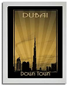 Dubai Skyline Down Town - Sepia F03-nm (a3) - Framed