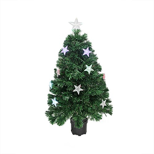 Northlight Pre-Lit LED Color Changing Fiber Optic Christmas Tree with Stars, (Pre Lit Led Color)