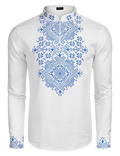 COOFANDY Men's Slim Fit Hippie Shirt Long Sleeve Floral Print Casual Zip Up Cotton Beach Party Henley T Shirt White ()