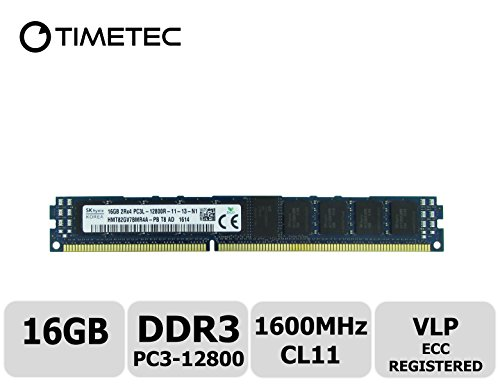 Vlp Server Memory (Timetec Hynix 16GB DDR3L 1600MHz PC3-12800 Registered ECC Very Low Profile VLP 1.35V CL11 2Rx4 Dual Rank 240 Pin RDIMM Server Memory Ram Module Upgrade (Server Only, Not for Desktop/Laptop)(16GB))