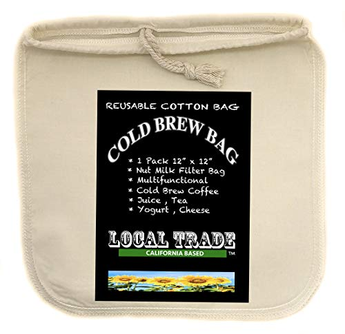 (1 PACK) Cotton Cold Brew Coffee Bag - Large 12 x 12 Inch Reusable Filter bag - Designed To Filter Out Coffee Grounds And Sediment Cold Brew Bags Are Great Coffee Makers And More Tea - Juice +