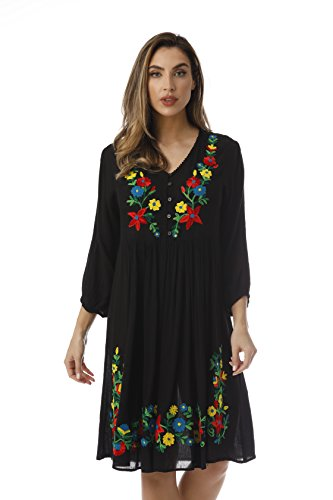 Riviera Sun Embroidered Dress with 3/4 Sleeve 21826-BLK-M Black