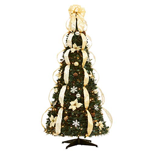 BrylaneHome Flat-to-Fabulous Fully Decorated, Pre-Lit 6-Ft. Christmas Tree
