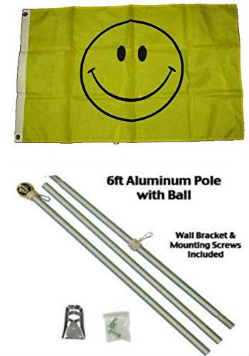 ALBATROS 2 ft x 3 ft 2x3 Smiley Happy Face Smile Flag Aluminum Pole Kit Gold Ball Top for Home and Parades, Official Party, All Weather Indoors Outdoors ()