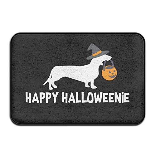 UDSNIS Mats Dachshund Dog Happy Halloween Non-Slip Doormat Funny Rubber Floor Rug Bathroom Mat All Weather Absorbent for Entrance Way Indoor,Farmhouse,Patio Etc -