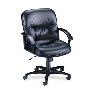 Lorell Leather (LLR60115 - Lorell Leather Tufted Mid-Back Chair)