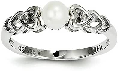 925 Sterling Silver Rhodium-plated Diamond & Freshwater Cultured Pearl June Stone Heart Ring