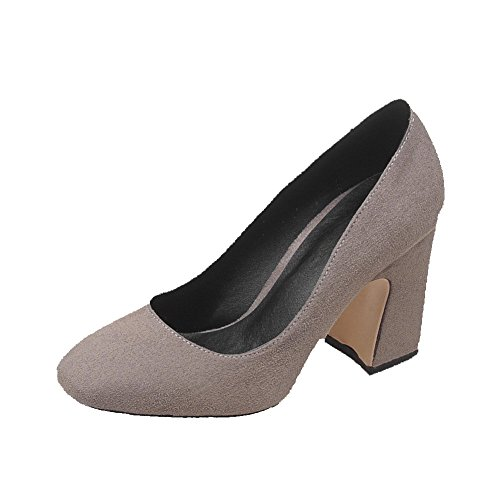 Shoes High Solid Frosted Square Heels Women's Toe Gray Pumps On Closed WeenFashion Pull P5qCqn