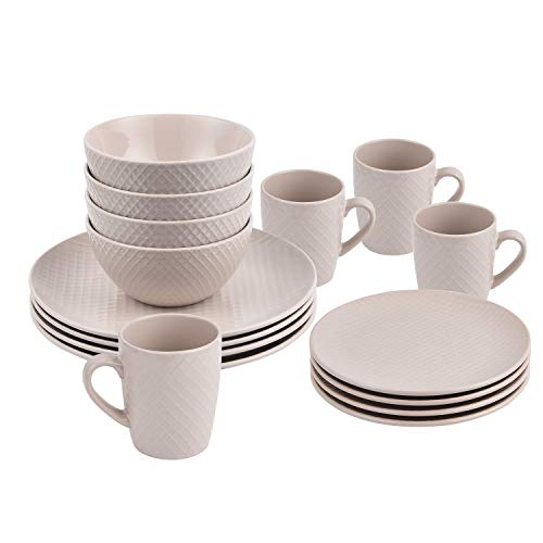 16 Piece Round Dinnerware Sets, Lattice Design Ceramic Dinnerware Sets, Handmade Porcelain Dinnerware Sets Safe for Dishwasher and Microwave for Everyday Use, Service for 4, Beige