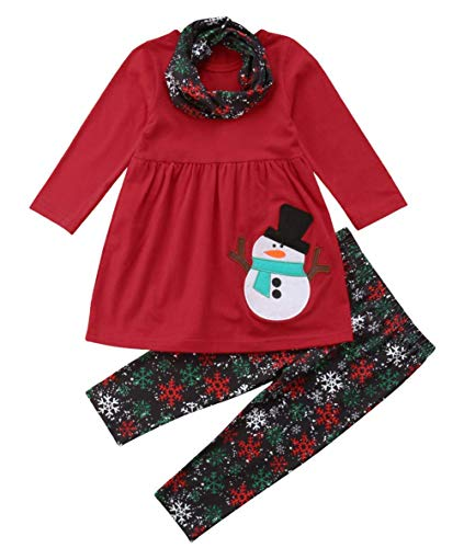Christmas Outfit Toddler Baby Girl Long Sleeve Snowman T-Shirt Dress Snowflakes Pants Fall Winter Clothes Set Red