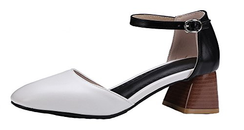 WeiPoot Women's PU Closed-Toe Kitten-Heels Buckle Solid Sandals, EGHLH005599, White, 34