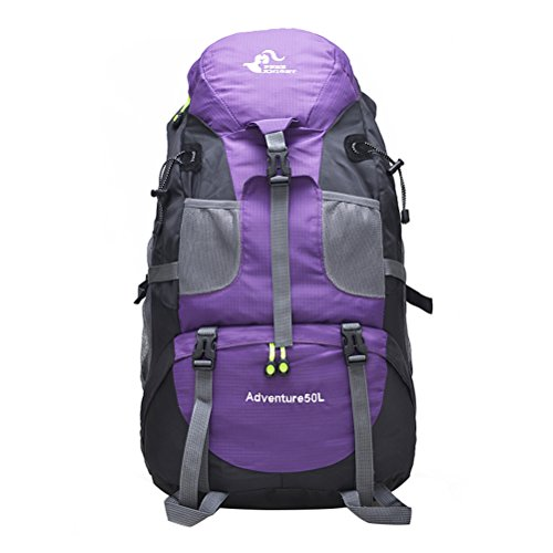 Free Knight 50L Hiking Camping Travel Hunting Mountaineering Waterproof Backpack for Men and Women Student Lightweight and Durable (Purple)