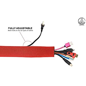 WireDevil - Red Cable Sleeve System - About 40 inches (1 Meter Long) Neoprene Flexible Velcro to Cover Computer and TV Cables - Wire Cable Sleeve Solution by WSLI