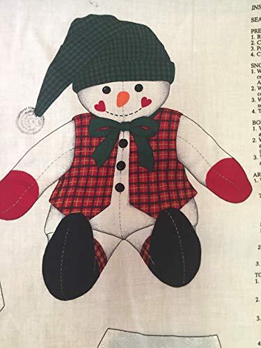 """Woodland Snowman, Snowman fabric, stuffed snowman pattern, 17"""" doll, VIP Print Cranston Print Works"""
