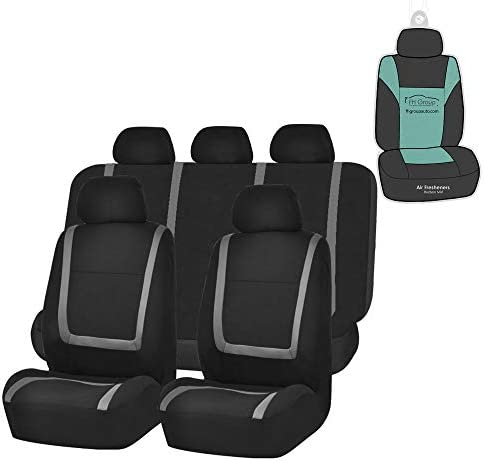 FH Group FB032115 Unique Flat Cloth Seat Covers (Gray) Full Set with Gift – Universal Fit for Cars Trucks and SUVs